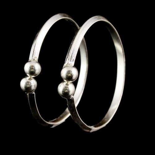 Silver Oxidized Floral Design Baby Bangle