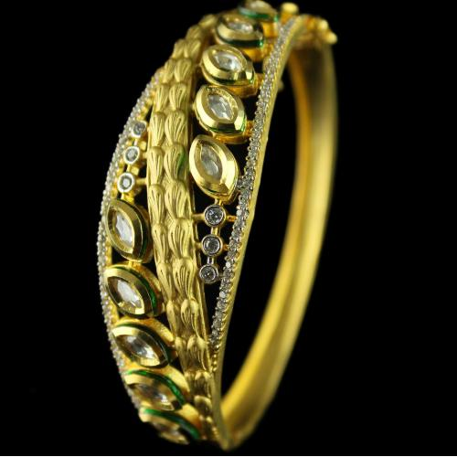 Silver Gold Plated Antique Design Bracelet With Zircon Stones