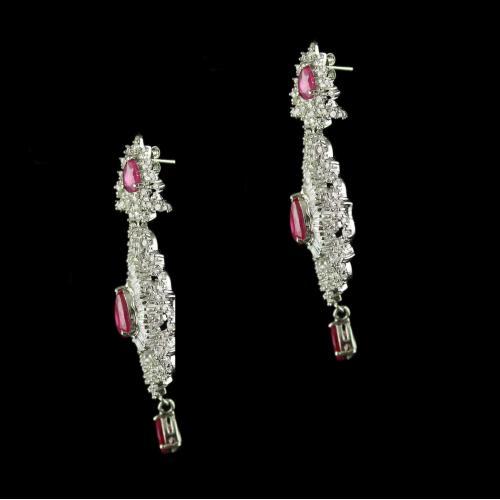 92.5 Sterling Silver Earrings Studded Zirconia Stones