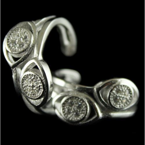 92.5 Sterling Silver Fancy Design Toe Rings Studded Zircon Stones