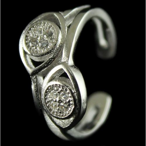 Silver Toe Rings Studded Two Line Zircon Stones