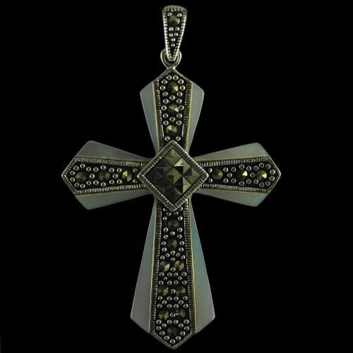 92.5 Sterling Silver Fancy Cross Design Pendant Studded Cristels