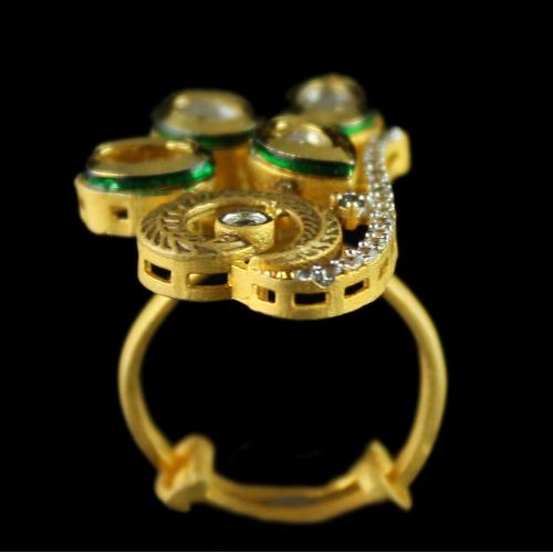 Silver Gold Plated Fancy Design Rings Studded Zircon Stones