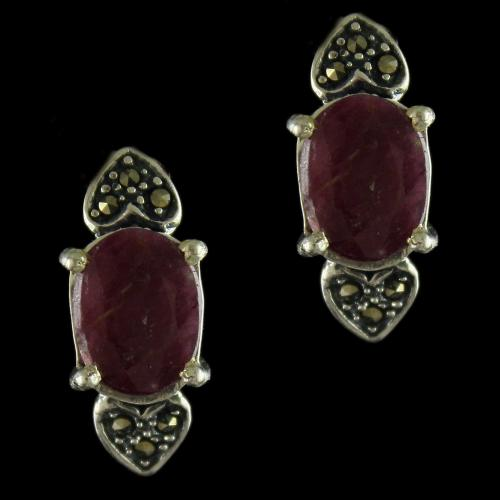 92.5 Sterling Silver Oxidized Casual Earrings Studded  Crystal Ruby Stones