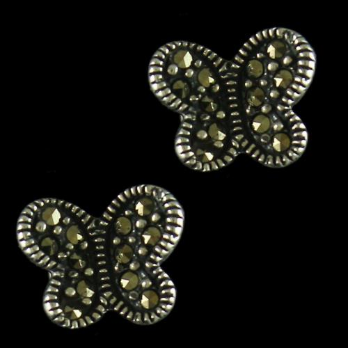 92.5 Sterling Silver Floral Design Earrings Studded Semi Precious Stones