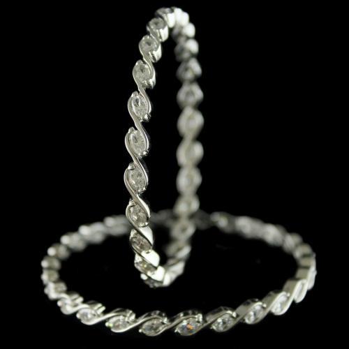 92.5 Sterling Silver Swarovski Stone Pair Bangles