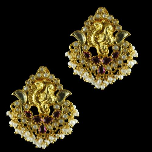 Antique Design Gold Plated Floral Earrings Studded Kundan Stones