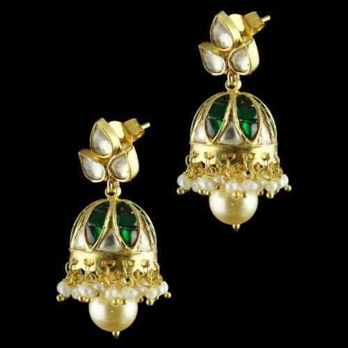 Gold Plated Meena and Fancy Jhumka Earrings Studded Polki,Pearl And Zircon Stones