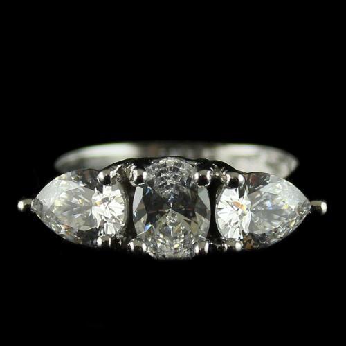 92.5 Sterling Silver Finger Rings Studded Swarovski Stones