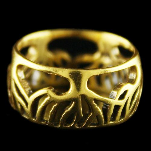 Antique Design Gold Plated Floral Rings