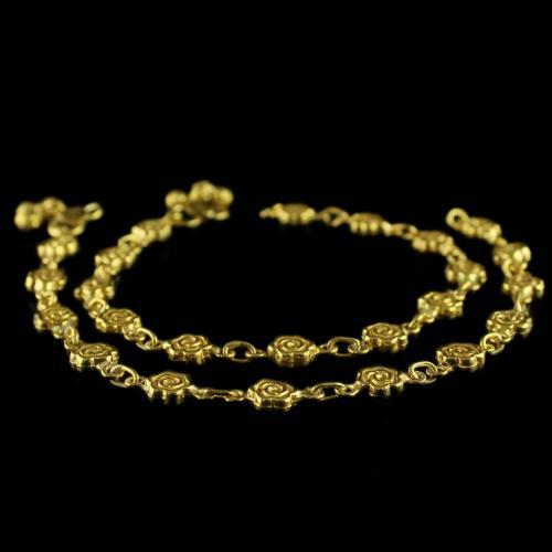 Gold Plated Floral Design Anklets