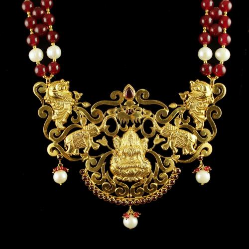 Silver Gold Plated Lakshmi Nagas Necklace With Pearl Red Beeds