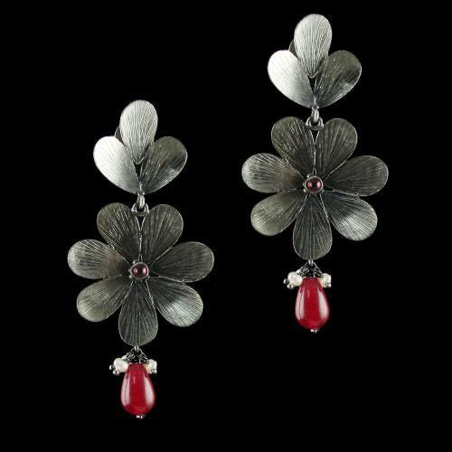 Silver Oxidized Earrings Studded Semi Precious Stones