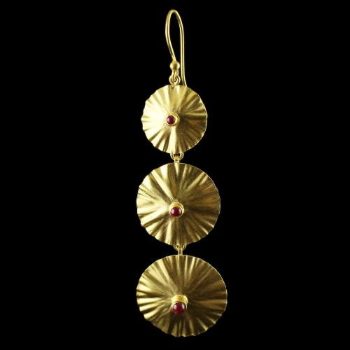 Silver Gold Plated Floral Design Hanging Earrings