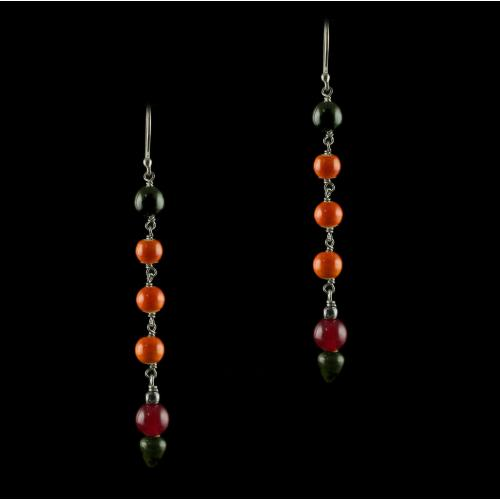 Silver Wooden Hanging Earings Studded Red Onyx And Green Beds