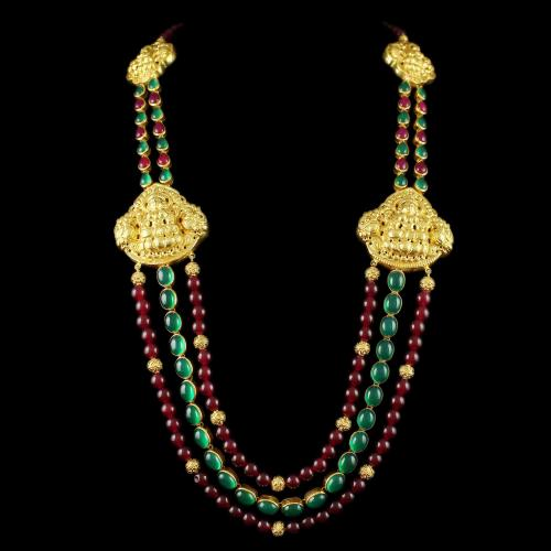 Silver Gold Plated Long Necklace Studded Red And Green Onyx