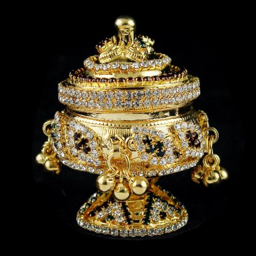 Gold Plated Enamel Floral Kumkum Box
