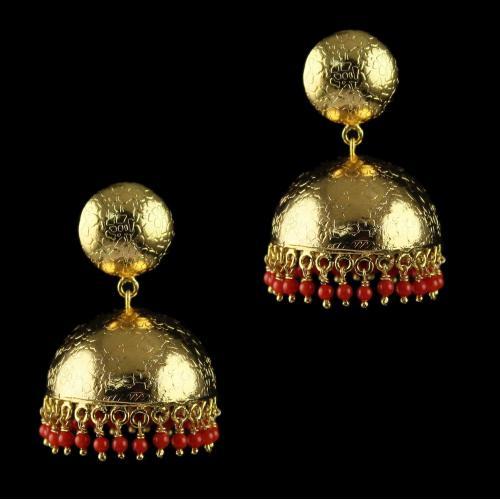 Gold plated jhumka Studded Semi precious stones