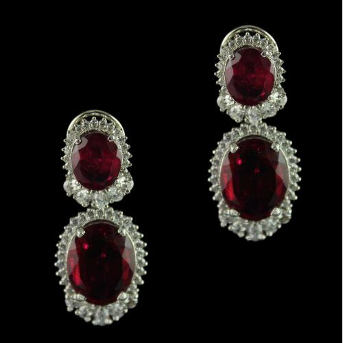 Swarovski Stone Collection Earrings Studded Red Onyx Stones
