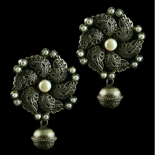 Silver Antique Design oxidized jhumka Earrings Studded Semi Preciouse Stones