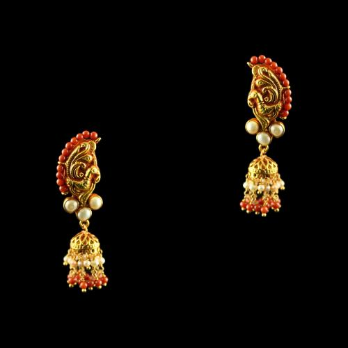 Silver Gold Plated Fancy Design Jhumka Studded Green, Red Onyx Stones