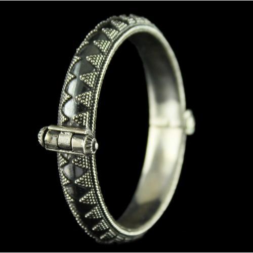 Silver Oxidized Fancy Design Kada Bangles