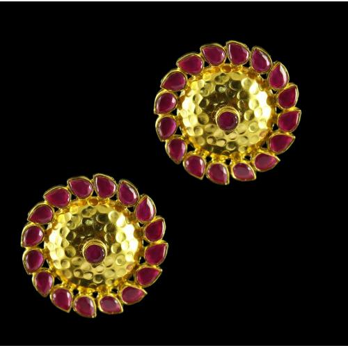 Gold Plated earrings Studded Semi Precious Stones