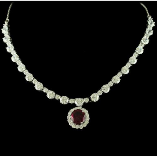 Silver Swarovski Design Necklace Zircon Stones