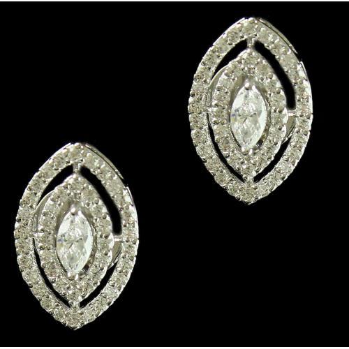 Silver Swarovski Design Earrings Zircon Stones