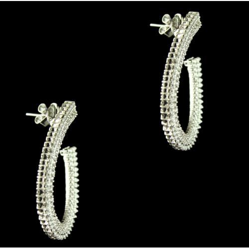 92.5 Sterling Silver Fancy Earrings Studded Swarovski Stones