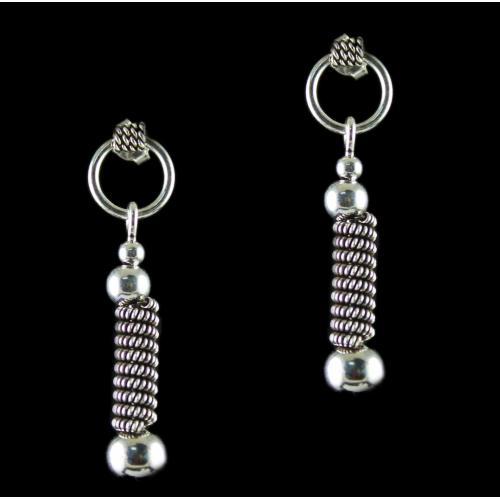 Silver Oxidized Fancy Design Drops Earrings