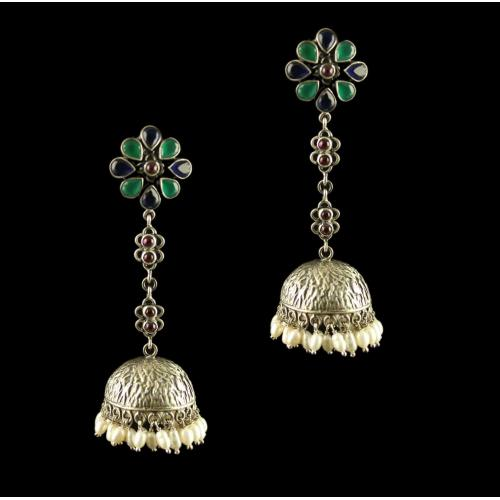 Silver Fancy Design Earrings Studded Zircon Stones