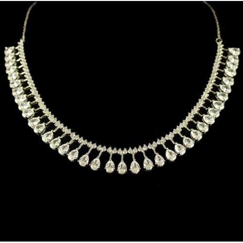 Silver Swarovski Zirconia Stone Necklace