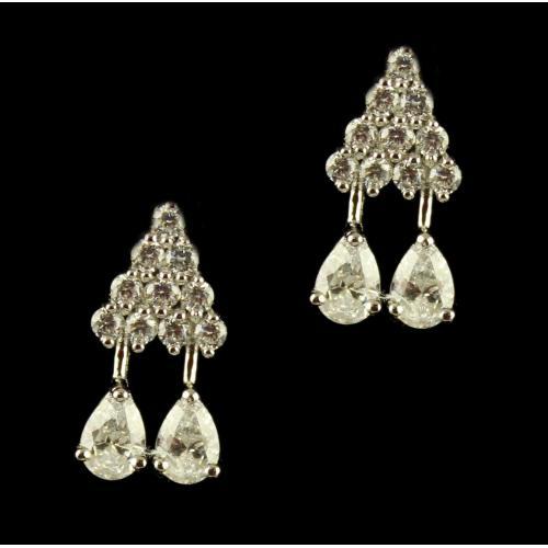 Silver Swarovski Zirconia Stone Earrings