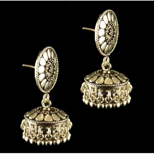 Silver Oxisided Antique Design floral Jhumka