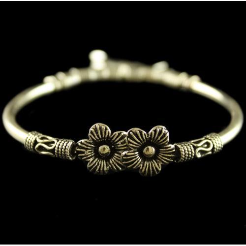 Silver Oxidized Design Flex Bangle