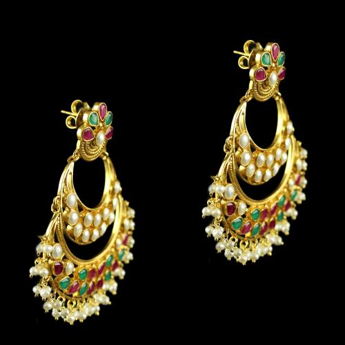 Silver Gold Plated Fancy Design Hooks Earrings Studded Pearl, Red And Green Beeds