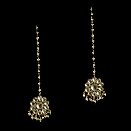 Gold Plated Floral Polki Earrings Studded semi Precious Stones