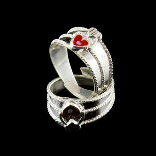 Enamel Design Floral Toe Ring