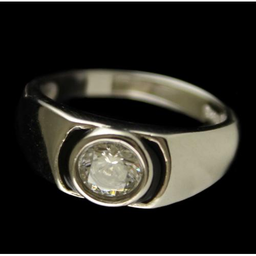 R6702 Sterling Silver Ring Studded Zircon Stones