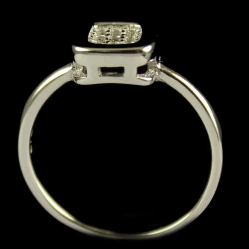 R13235 Sterling Silver Fancy Ring Studded Zircon Stones