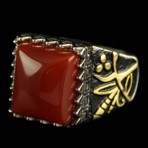 92.5 Silver Onyx Stone Fancy Ring