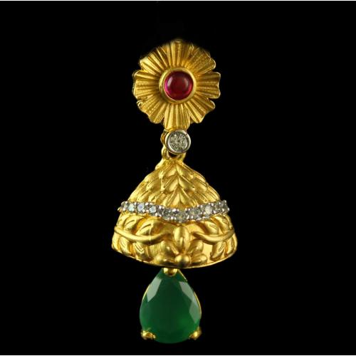 Silver Gold Plated Fancy Design Jhumka Studded Green Onyx ,Zircon And Pearls