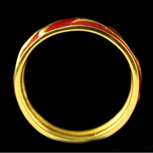 Silver Gold Plated Fancy Red Ring
