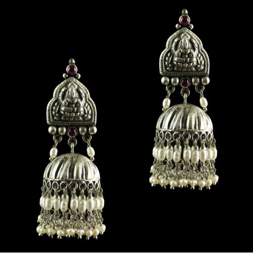 Silver Oxidized Band Design  Earring Jhumka Red onyx And Pearls