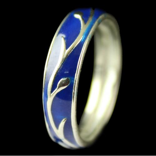 Silver Plated Fancy Design Blue Ring