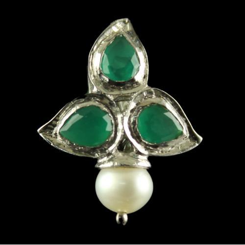 Silver Plated Fancy Design Earrings Green Pear Pearl 4.5mm