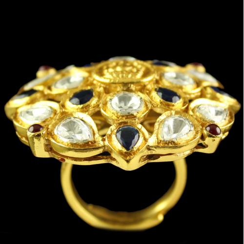 Silver Gold Plated Round Design Ring Studded Polki Stones