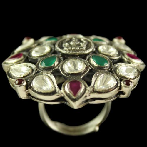 Silver Oxidized Band Design  Ring Studded Polki Stones