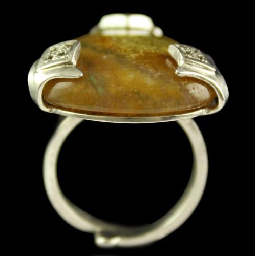 Silver Plated Semiprecious Peruvian White Cz Stone Ring